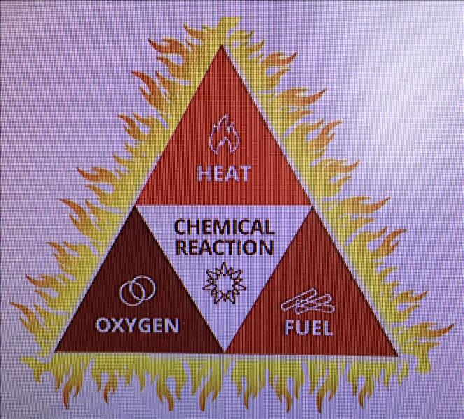 A 3 sided triangle with the 3 elements of a fire. Heat, Fuel, Oxygen.